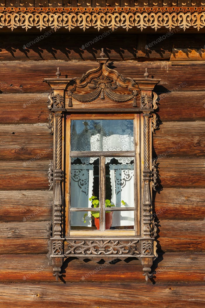 Wooden Windows With Frames, Traditional Old  Russian Architecture