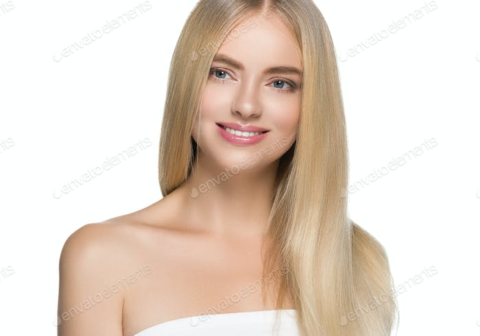 Teeth smile woman long blonde hair healthy skin