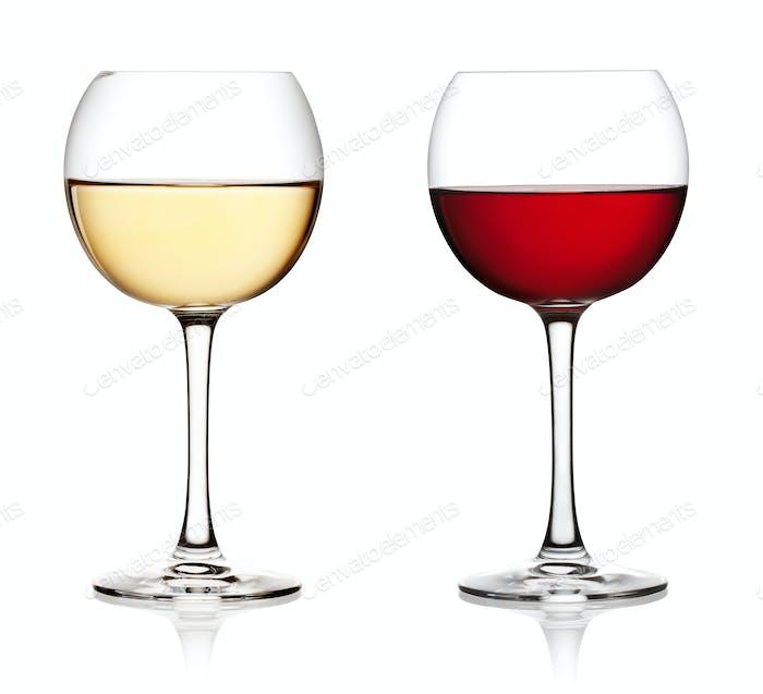 Glas Rot- und Weißwein