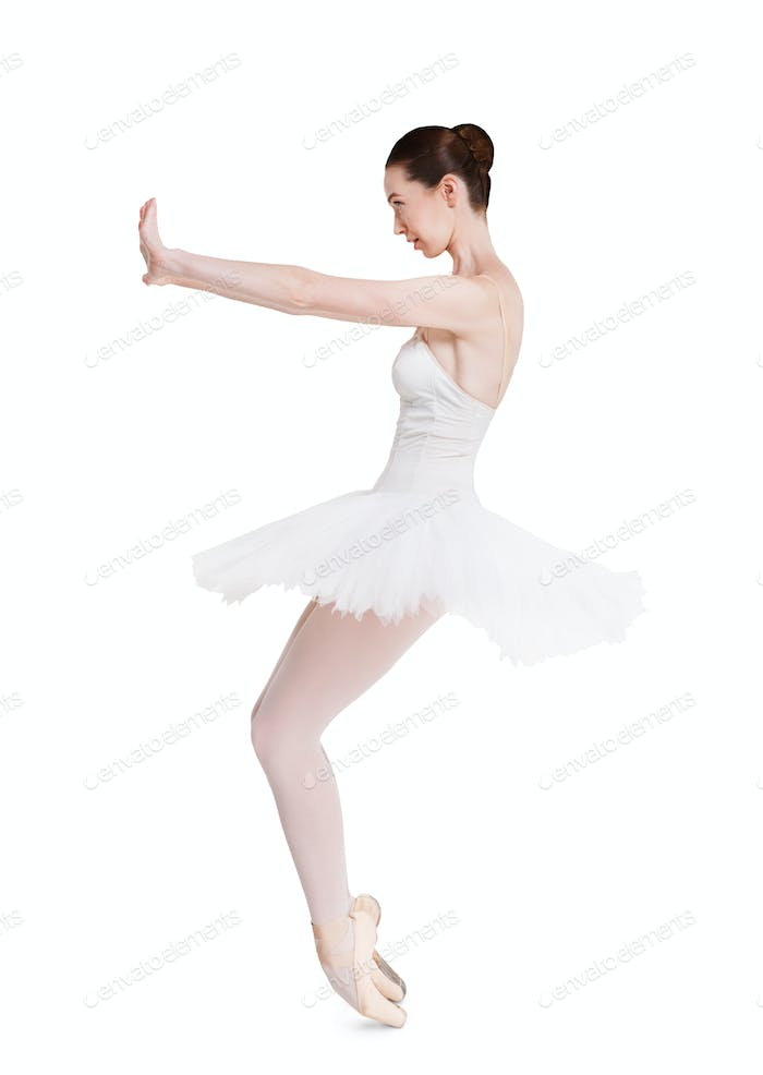 Scared ballerina portrait isolated on white background