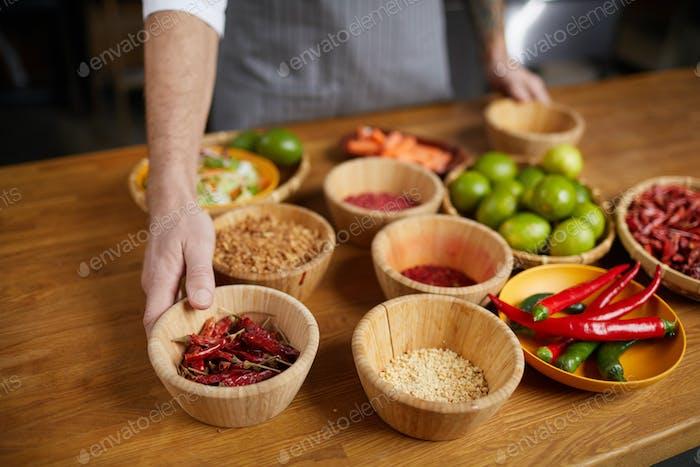 Chef Preparing Food Ingredients