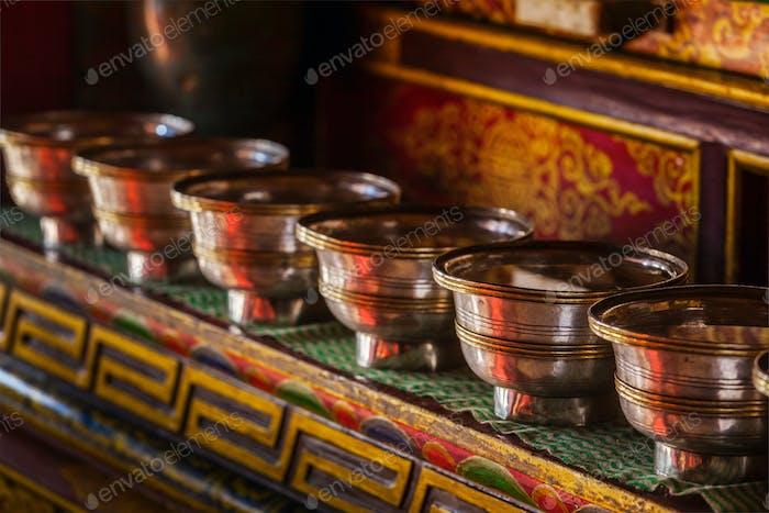 Offerings Tibetan Water Bowls in Lamayuru gompa