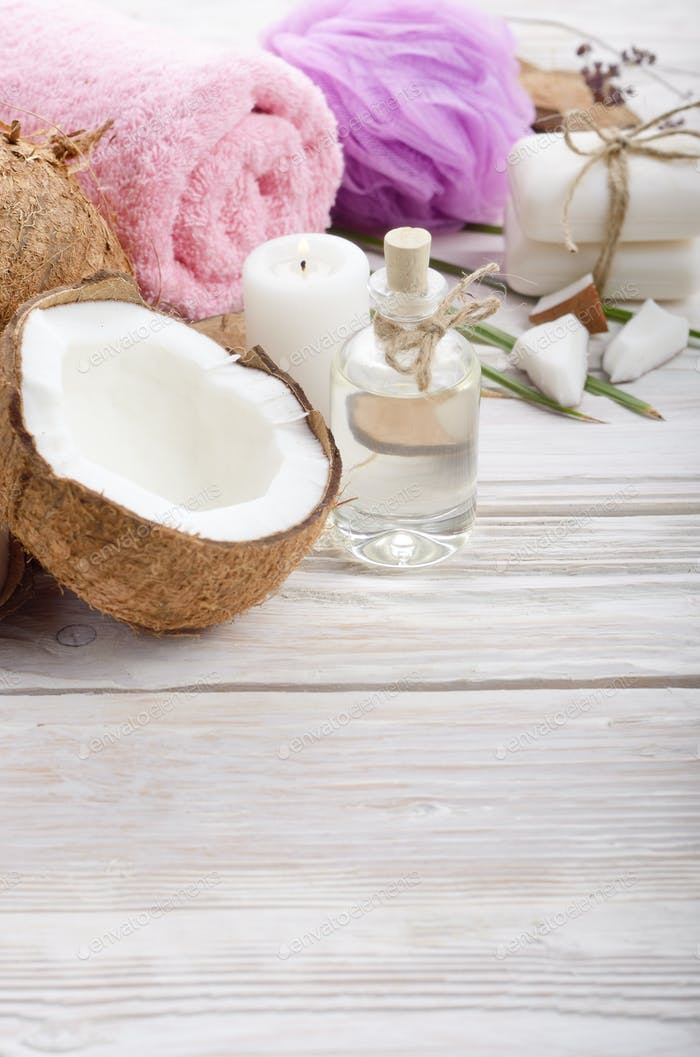 Body care Coconut oil soap and candle set on white table