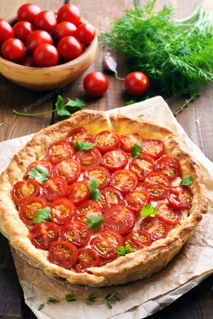 Tomato pie on baking paper