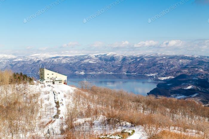 Scenic view of Lake Toya from Mount Usu or Usuzan in Hokkaido Japan