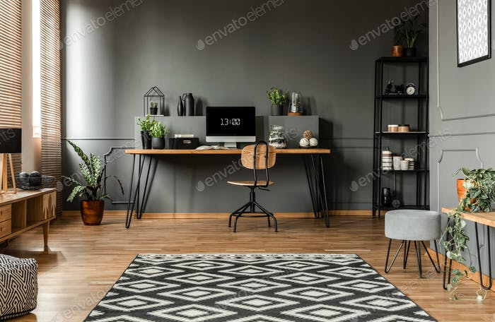 Spacious grey living room interior