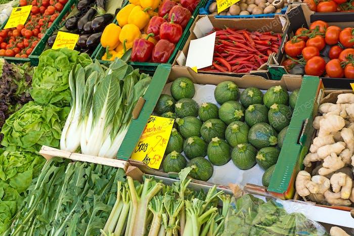 Fresh vegetables on a market