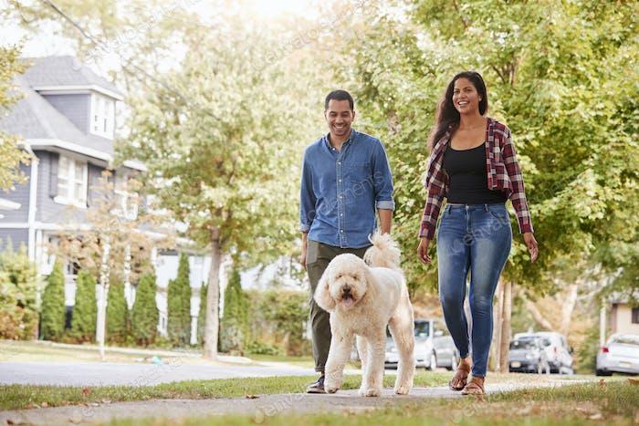Paar Walking Hund entlang Suburban Street