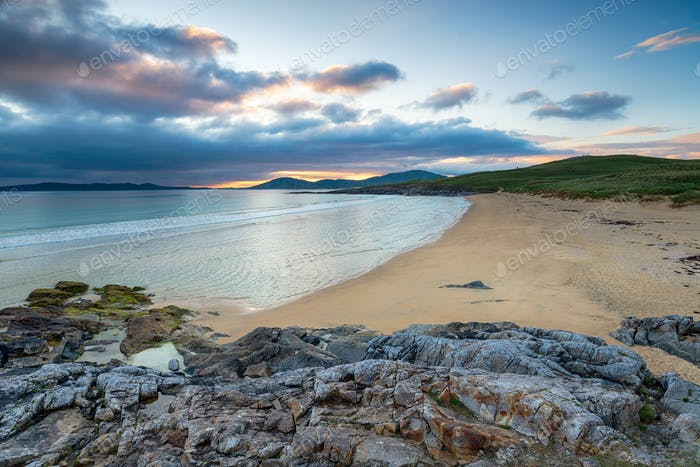 Sunset at the beautiful Traigh Lar beach at Seilebost