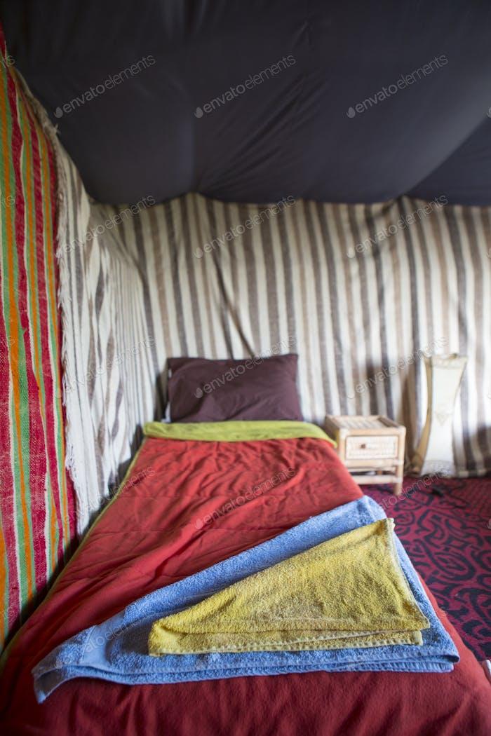 Interior Berber tent in Morocco
