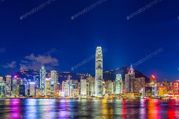 Hong Kong city lit up at night