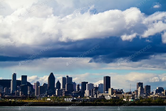 View of Montreal city just before a Storm All logo removed.