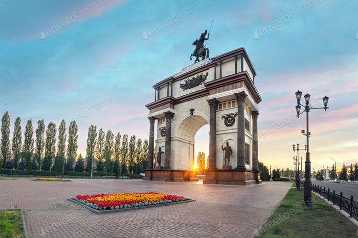 Triumphal Arch on sunset in Kursk, Russia