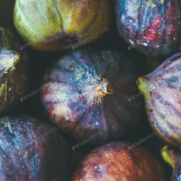 Close-up of fresh ripe purple figs, top view, square crop