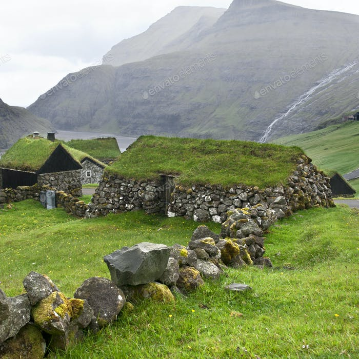 Old stone house in Faroe Islands