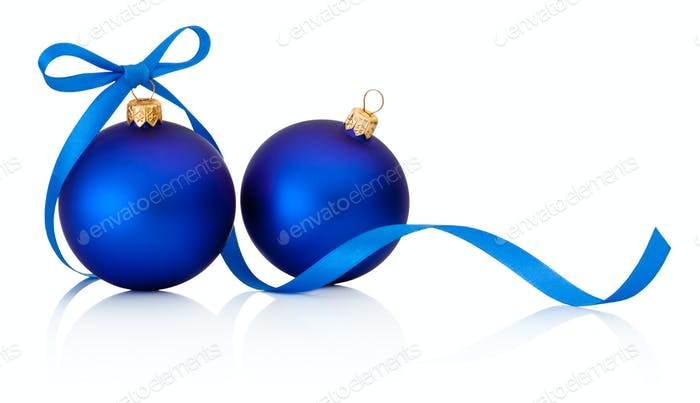 Two Blue Christmas baubles with ribbon bow isolated on white bac
