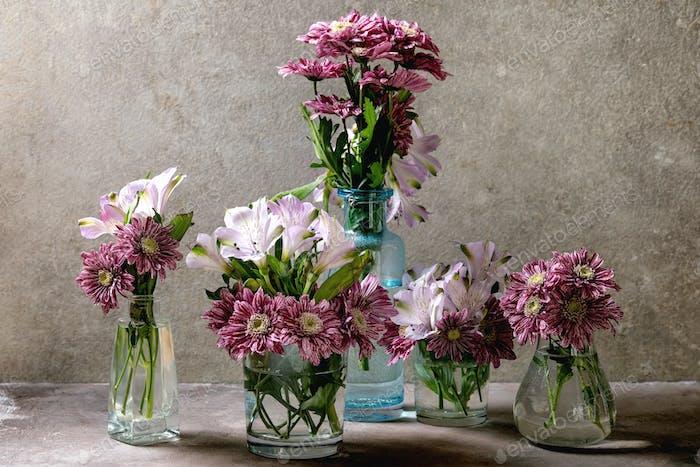 Flowers in glass jars