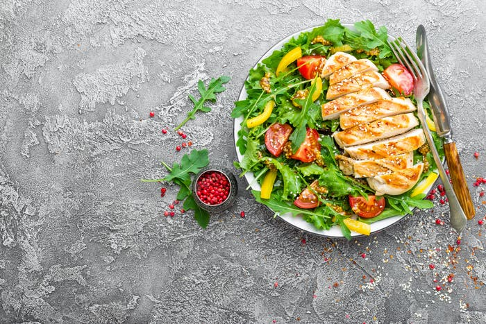 Thumbnail for Chicken fillet with fresh vegetable salad