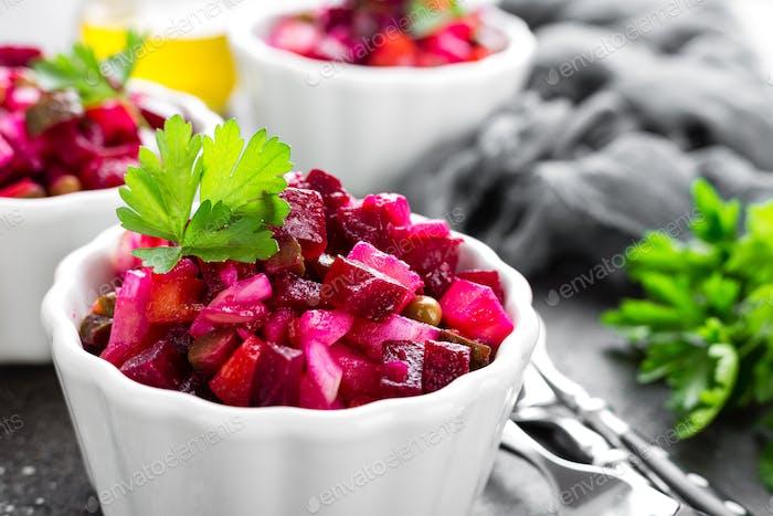 Beet salad. Vegetable salad with boiled beet. Beetroot salad