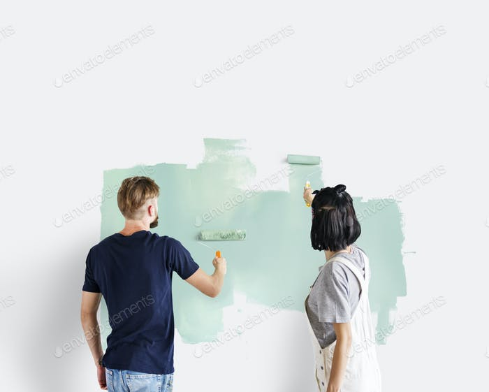Couple renovating the house