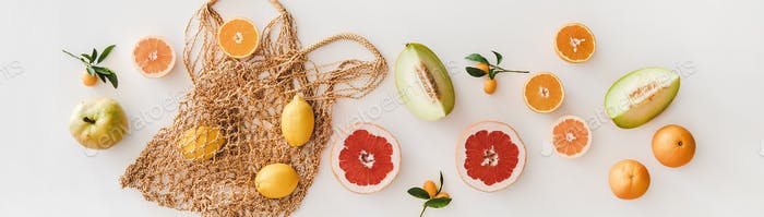 Summer natural net bag and various fresh fruits, wide composition
