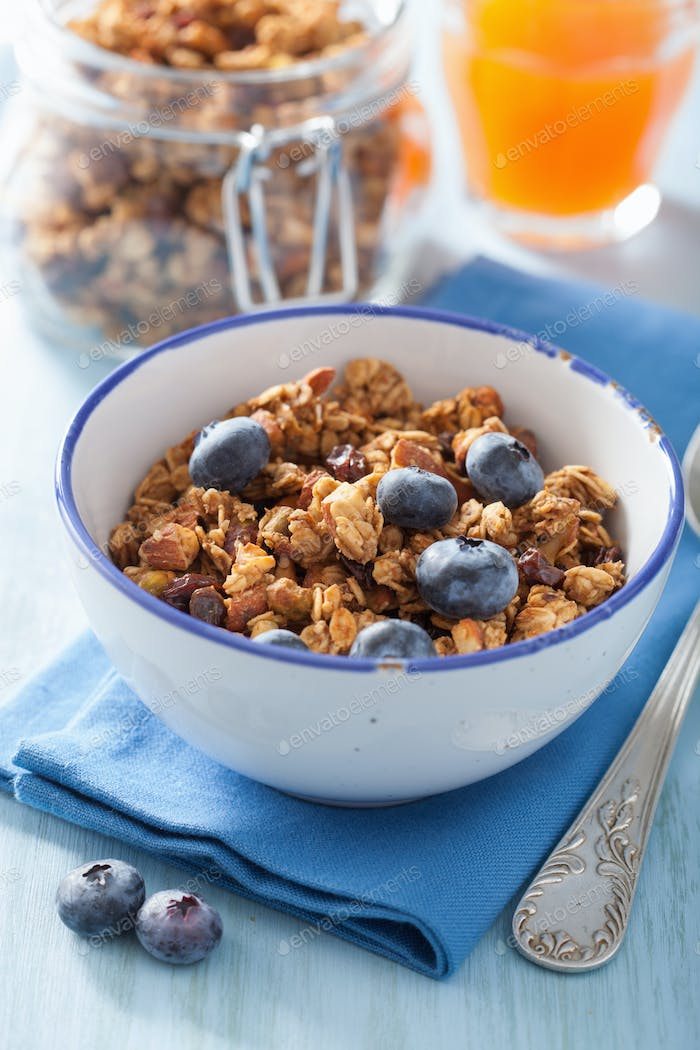 homemade healthy granola with blueberry for breakfast