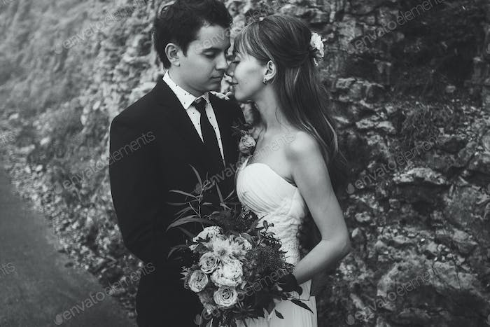 Newlyweds tenderly kissing close-up. Black and white toning portrait