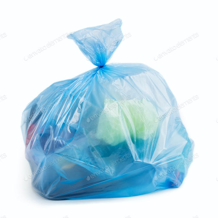 Plastic bag full of trash on white