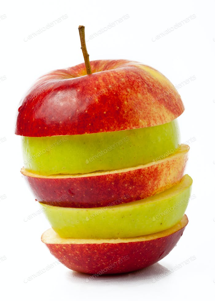 roter und grüner Apfel
