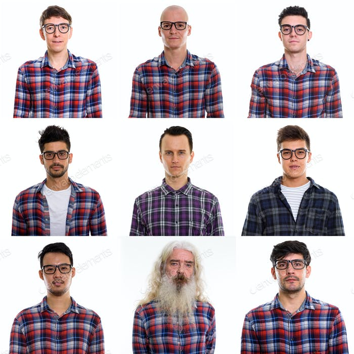 Collage of multi ethnic and mixed age men