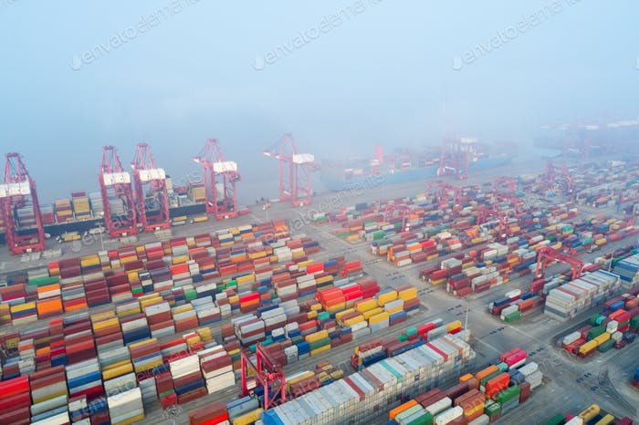 aerial view of shanghai container port