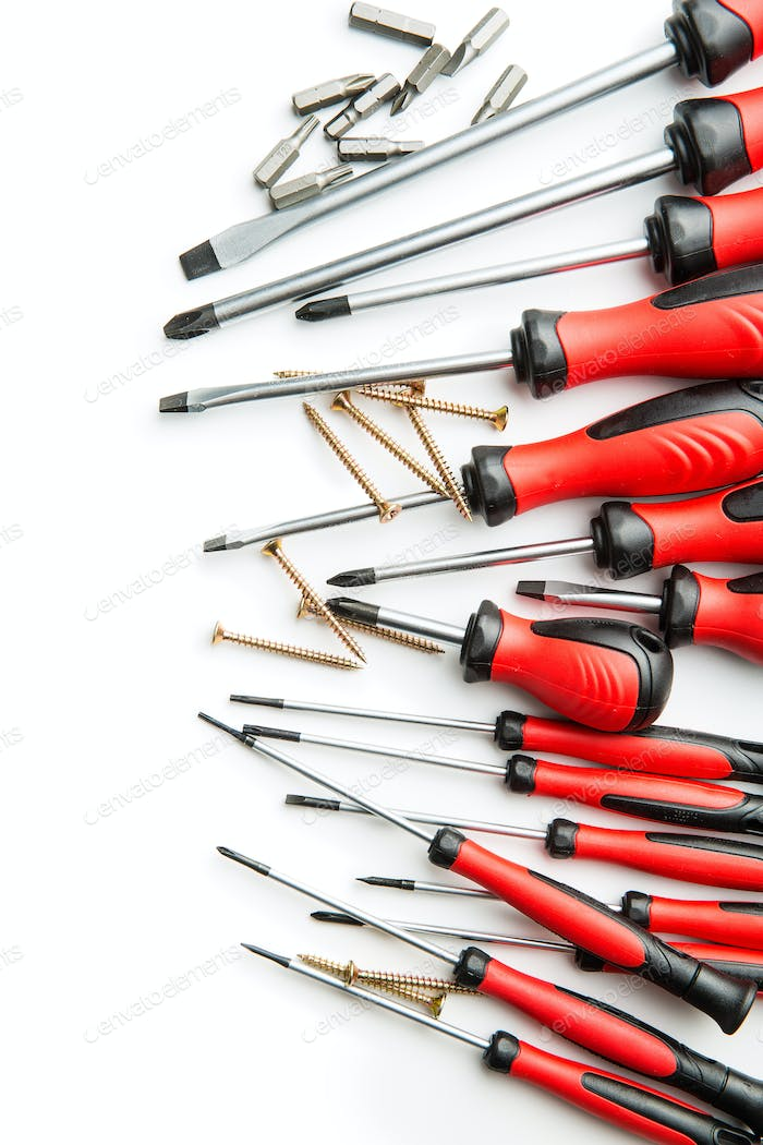 The hand screwdrivers.