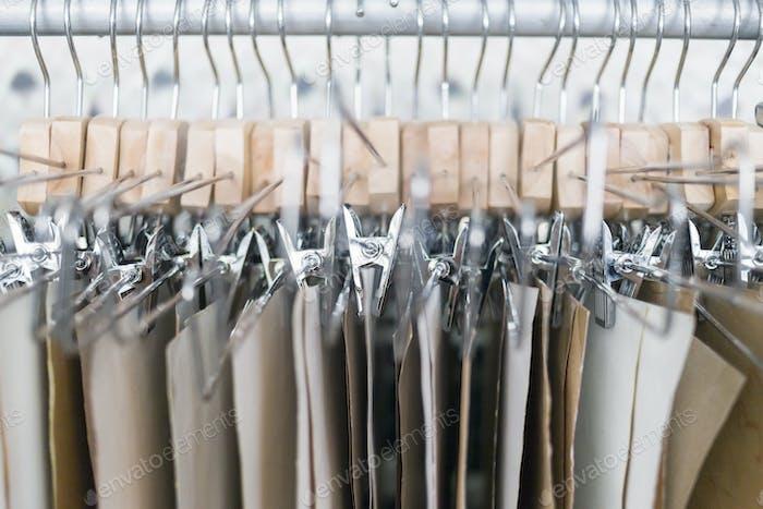 Denim fabric hanging in factory