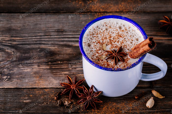 Hot masala chai tea with spices
