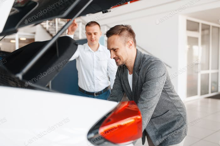 Buyer and manager looks at the trunk of new car