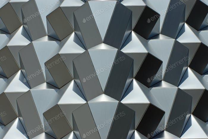 Futuristic silver facade