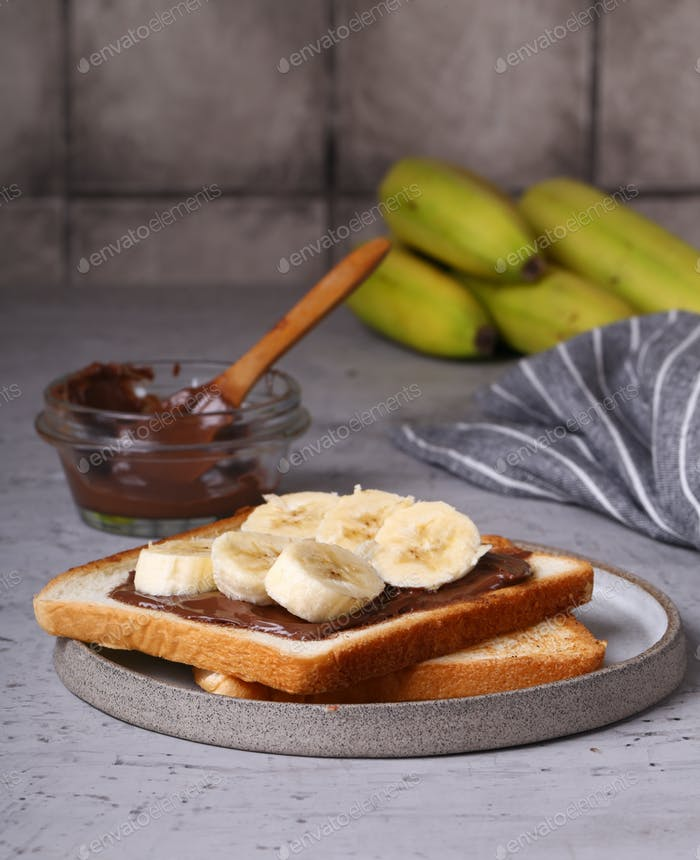Toast with Chocolate Taste and Banana