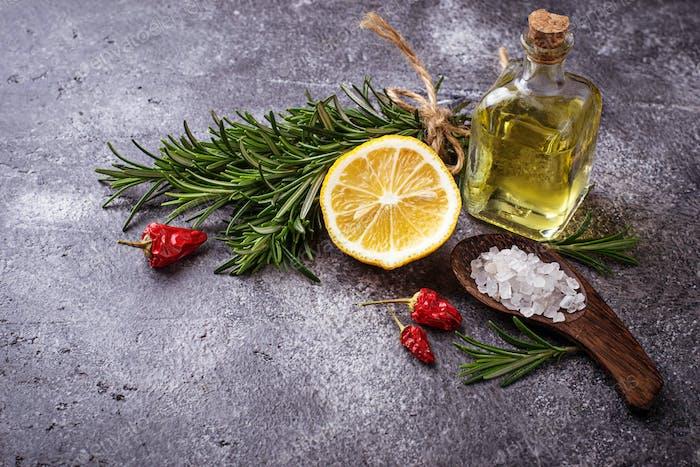 Rosemary, salt, lemon, oil and pepper