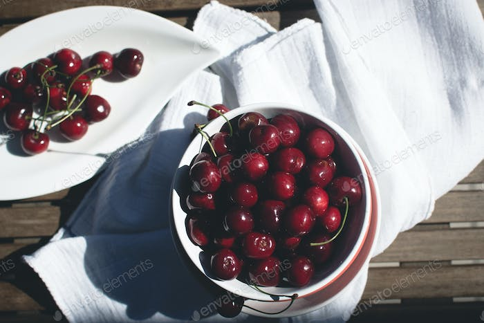 Dark cherries in bowl