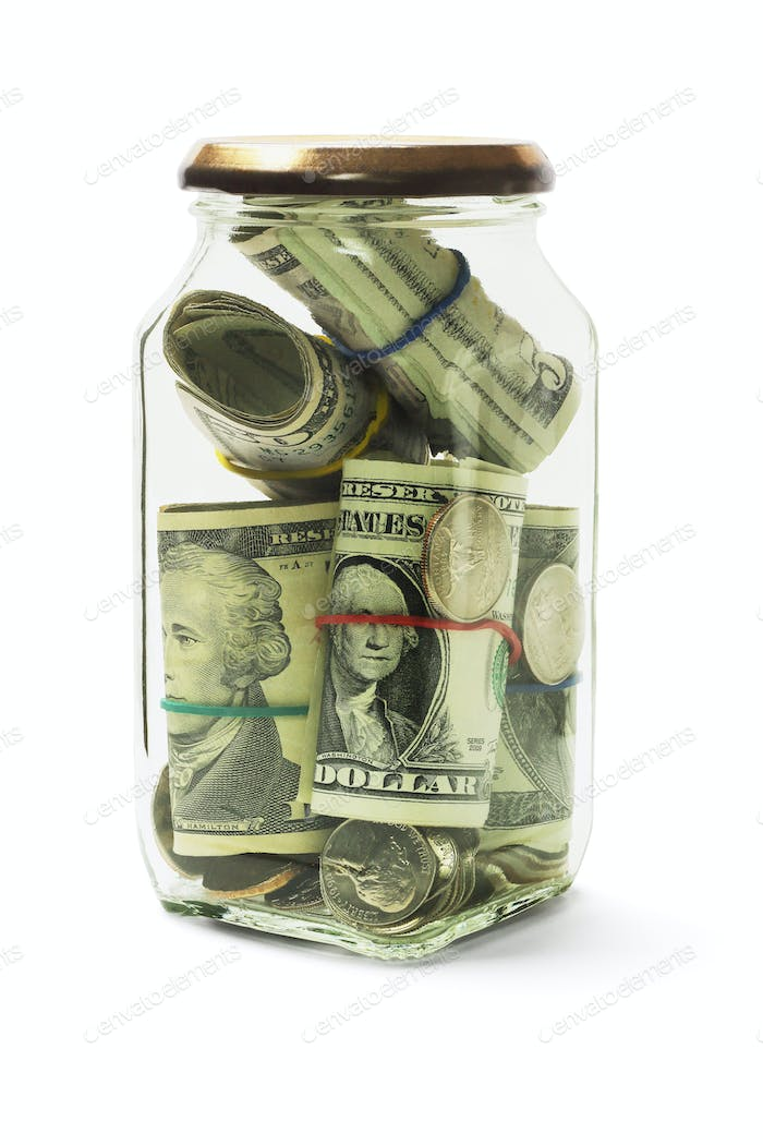 Cash in Glass Jar