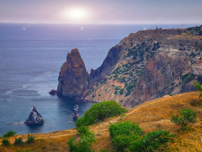 The coast at the cape Fiolent. Crimea