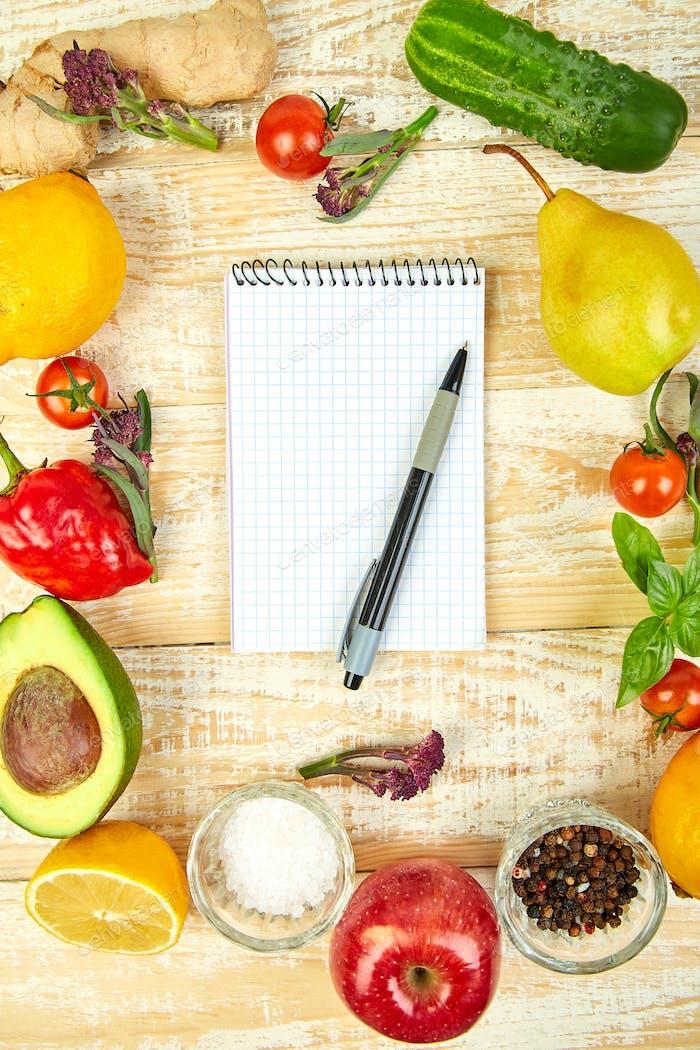 Shopping list, recipe book, diet plan. Diet or vegan food