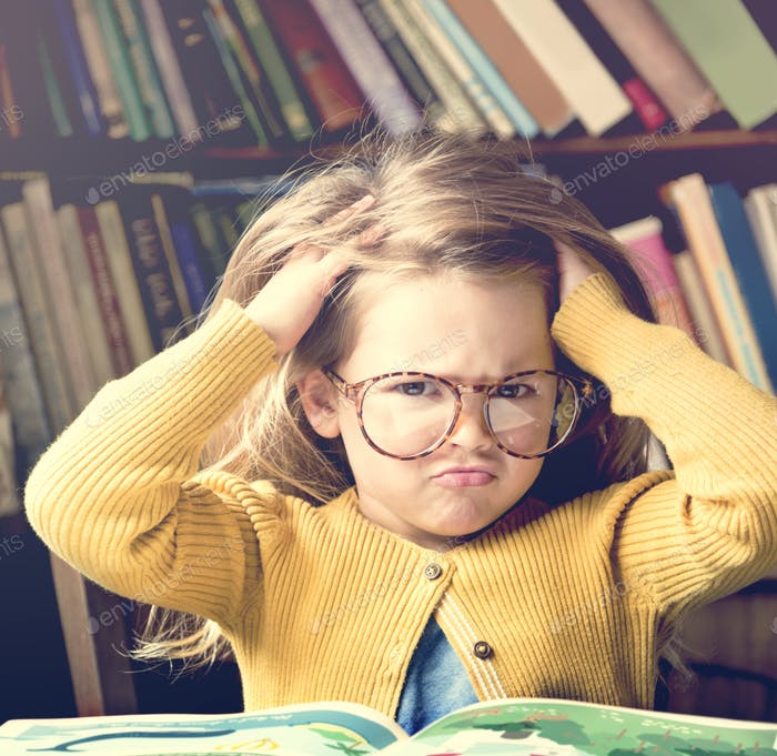 Adorable Cute Girl Stressed Out Reading Concept