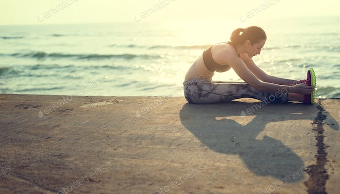 Stretching Exercise Training Healthy Lifestyle Beach Concept