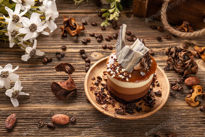 Choclate and coffee mousee cake