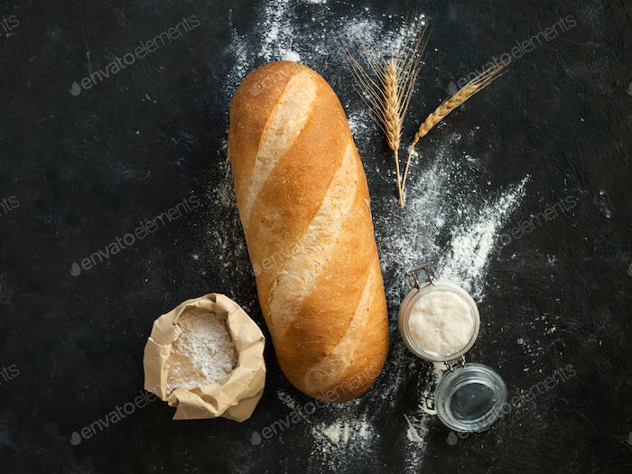 Sourdough Bloomer or Baton loaf bread