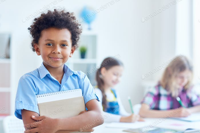 Boy with copybook