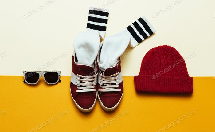 Urban Style Clothing. Skateboard fashion outfit. Beanie, socks,