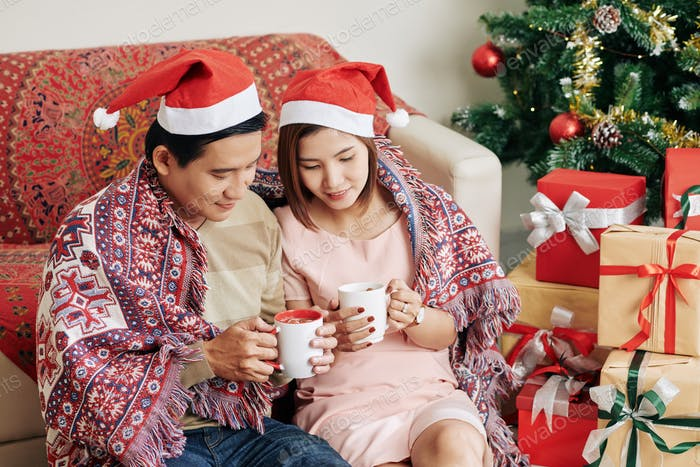 Couple enjoying cozy Christmas