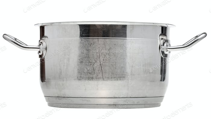 side view of small stainless steel saucepan